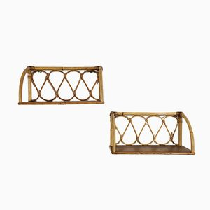 Bamboo and Rattan Shelves, 1960s, Set of 2