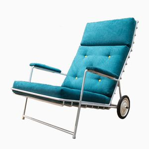 French Metal Garden Lounge Chair