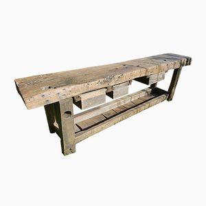 Vintage Eichenholz Schreiner Werktisch