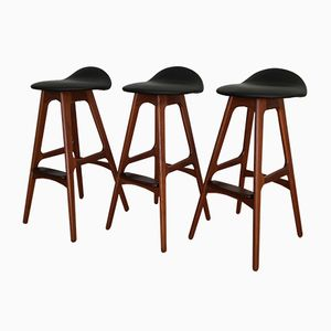 Danish Teak and Rosewood Stools by Erik Buch for O.D. Mobler, Set of 3