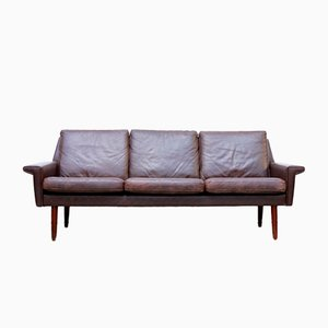 Danish Brown Leather Three-Seater Sofa from Vejen, 1960s