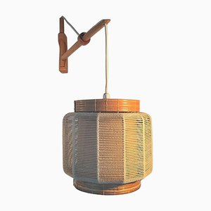 Vintage Oak, Twine & Wicker Wall Lamp by Kaare Klint for Le Klint