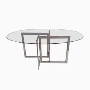 Oval Dining Table with Asymmetric Base, 1970s