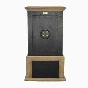 Antique Safe in Oak and Steel from Delort