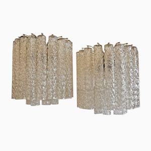Mid-Century Wandlampen aus Glasröhrchen von Venini, 2er Set