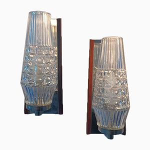 Mid-Century Danish Glass Sconces with Rosewood Details, Set of 2