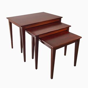 Mid-Century Danish Rosewood Nesting Tables with Tapered Legs
