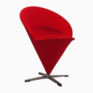 Mid-Century Danish K Series Cone Chair with Red Wool Fabric by Verner Panton for Gebr. Nehl
