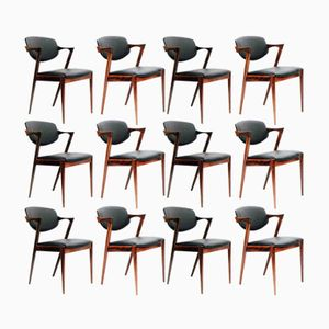 Model 42 Rosewood & Leather Chairs by Kai Kristiansen for Schou Andersen, Set of 12