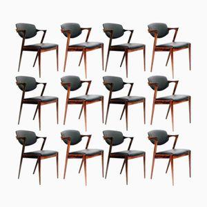 Modell 42 Stühle aus Palisander & Leder von Kai Kristiansen für Schou Andersen, 12er Set