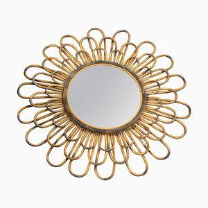 French Wicker Mirror, 1960s