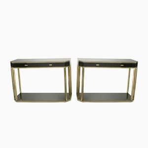 Brass Console Tables by Jean Claude Mahey for Maison Romeo, 1970s, Set of 2