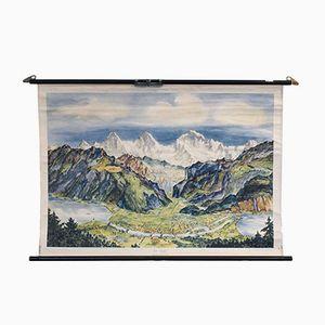 Vintage Alpen Schulwandkarte von Verlag Neues & Co.