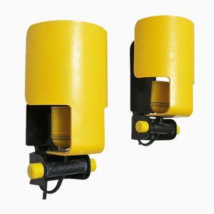 Lampade da parete gialle di D. Galizzi per Lamperti, anni '70, set di 2