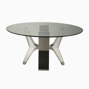 Steel Dining Table by François Monnet, 1970s