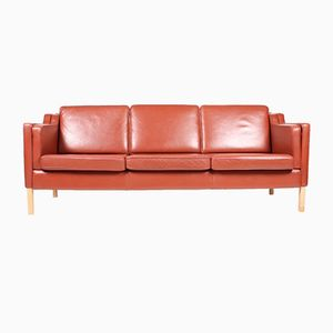 Red Danish Three-Seater Leather Sofa from Stouby, 1980s