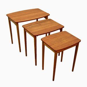 Danish Teak & Oak Nesting Tables, 1960s, Set of 3