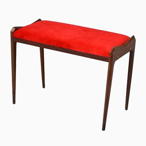 Vintage Italian Red Velvet Bench