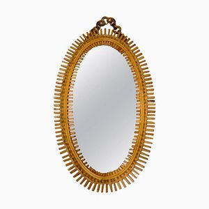 Italian Wicker Mirror, 1960s