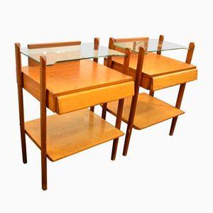 Tables de Chevet Vintage en Bois et en Verre, 1960s, Set de 2