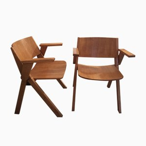 Vintage Italian Wooden Chairs, 1970s, Set of 2