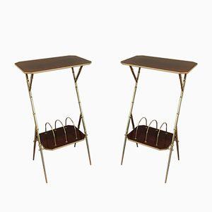 Tische mit Magazinständer aus Holz und Messing in Bambus Optik, 1950er, 2er Set