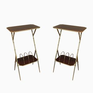 Wooden and Brass Faux-Bamboo Magazine Rack Tables, 1950s, Set of 2