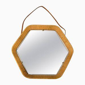 Sechseckiger Korbgeflecht Spiegel, 1960er