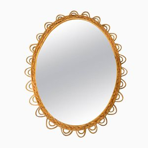 Wicker Mirror with Looping Frame, 1960s
