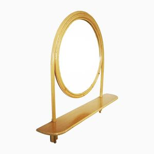 Vintage Large Bamboo Mirror with Shelf