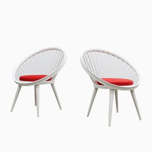 Mid-Century Circle Chairs by Yngve Ekström, Set of 2
