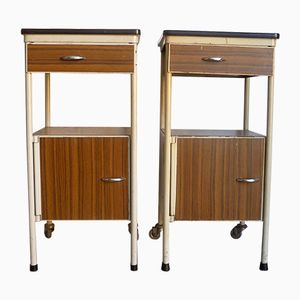 Vintage French Steel Night Stands, Set of 2