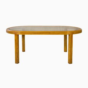 Dining Table in Bamboo & Glass, 1970s