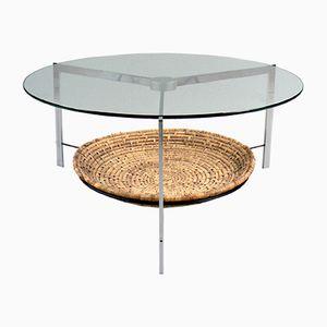 Niedriger Vintage Tisch aus Glas und Stahl