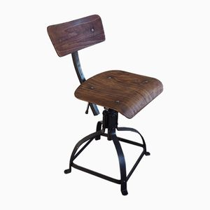 Industrial Adjustable Workshop Chair from Bienaise, 1950