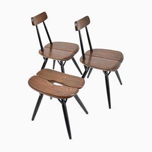 Pirkka Chairs & Stool by Ilmari Tapiovaara for Laukaan Puu, 1955