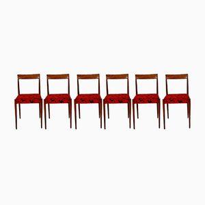 Rote Vintage Esszimmerstühle, 6er Set