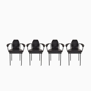 Black Leather Dining Chairs, 1980s, Set of 4