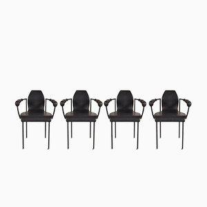 Chaises de Salon Noires en Cuir, 1980s, Set de 4