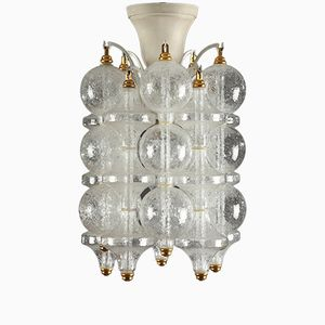 Lacquered Iron and Glass Chandelier, 1960s