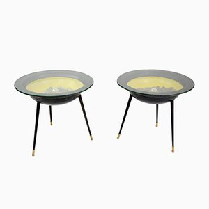 French Side Tables with Integrated Lighting, 1950s, Set of 2