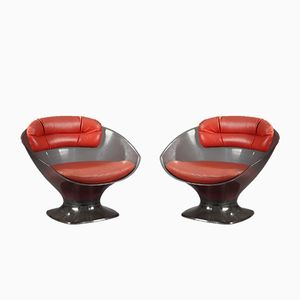 Vintage Lucite and Leather Armchairs by Raphael Raffel, Set of 2