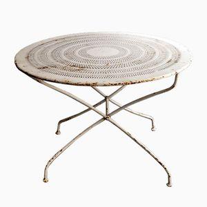Table de Jardin Vintage Blanche en Métal Perforé