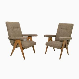 Italian Walnut Reclining Chairs, 1950s, Set of 2