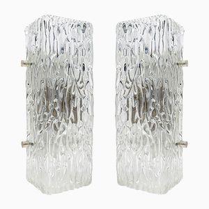 Österreichische Vintage Wandlampen aus Glas von Kalmar, 1960er, 2er Set