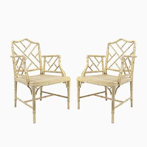 Vintage Faux Bamboo Armchairs, Set of 2