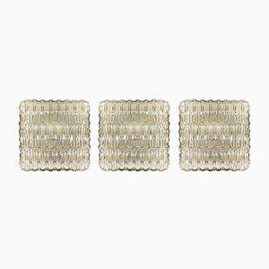 Vintage Glas Wandlampen, 3er Set