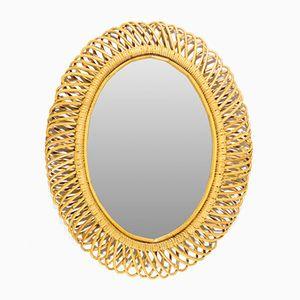 Italian Oval Rattan Frame Mirror, 1950s