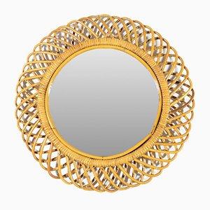 Italian Round Wicker Frame Mirror, 1950s