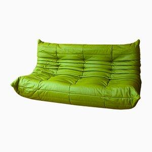 Apfelgrünes Vintage Leder Dreisitzer Togo Sofa von Michel Ducaroy für Ligne Roset